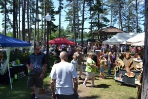 Tents and the crowd at Gwinn Fun Daze 2015- Great Turn Out!