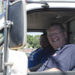 Lane Dawson and Nancy Longtine in the FXD Van