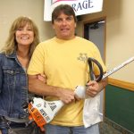 Keith LeFebre from Marquette with his new string trimmer from Ward's