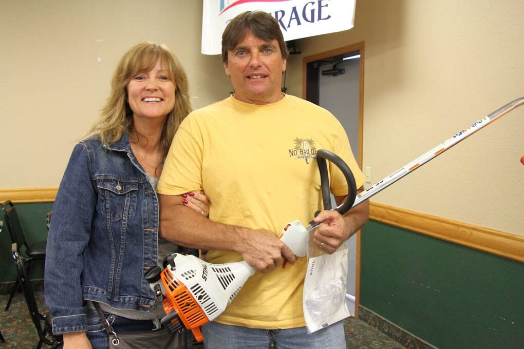 Keith LeFebre from Marquette with his new string trimmer from Ward