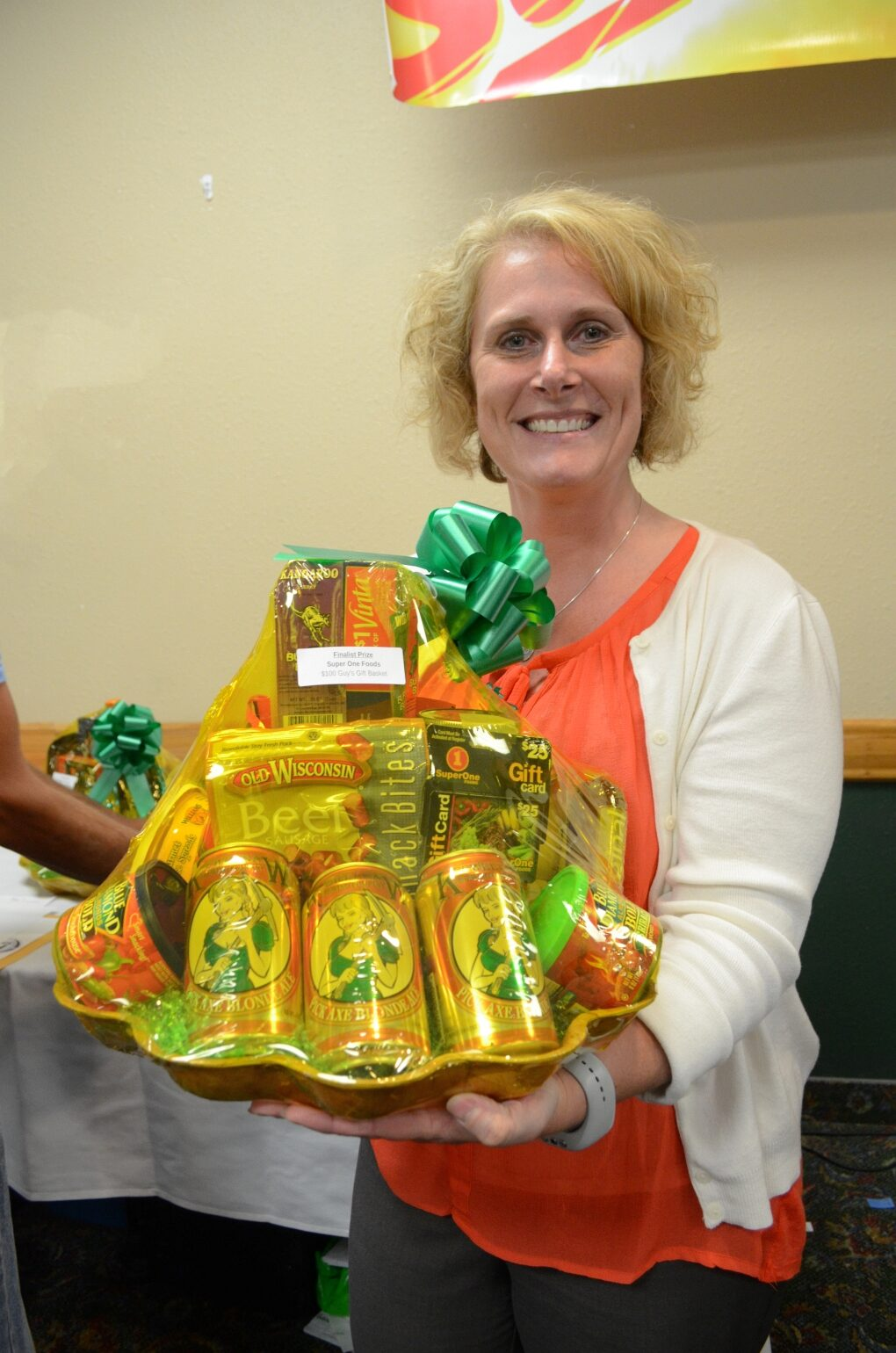 Kay Ryan from Gwinn with her $100 value gift basket from Super One Foods