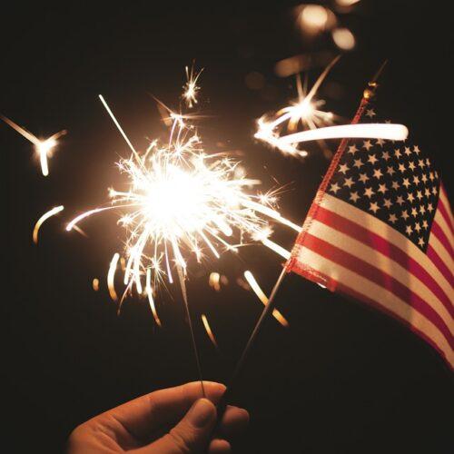 Fourth of July Flag and Sparkler