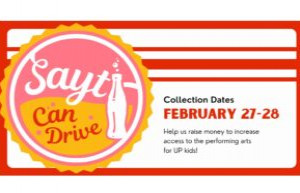 Donate your returnables to SAYT February 27 * 28 2021
