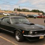 Three-quarters view of a Ford Mustang