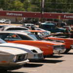 Cars lined up at the 2021 Car Show