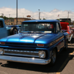 This shiny blue Chevrolet looks brand new!