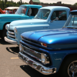 Front bumpers of some trucks at the car show