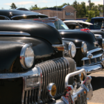 Front bumpers of classic cars at the Catch the Vision Car Show