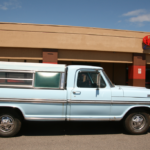 A classic truck painted in light blue