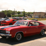 Red with black stripes Chevrolet Chevelle