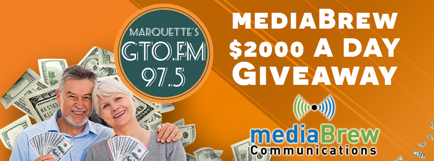 Three times a day to win one of two daily $1000 prizes on GTO 97.5